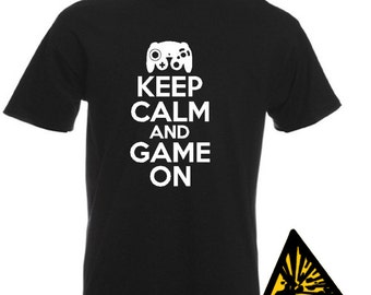 Keep Calm And Game On T-Shirt Joke Funny Tshirt Tee Shirt Gift Console Gamer Gaming