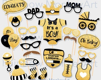 Baby Shower Black Gold Photo Booth Props ...