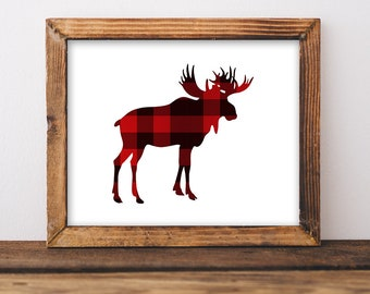 Red Flannel Moose Digital Art Print, Plaid Moose Wall Art, Cabin Style Home Decor, 8x10 inch, INSTANT PRINTABLE