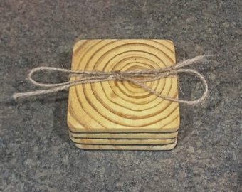 Wooden Coaster Set, House Warming Gift, Wedding Gift, Rustic