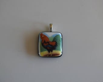 Rooster Fused Glass Pendant On A Silver Plated Adjustable Chain