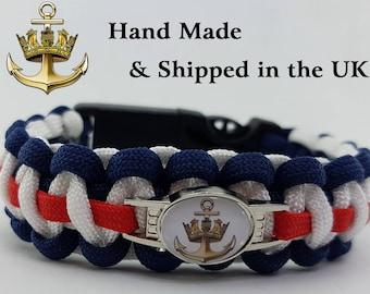 The Royal Navy Emblem - Paracord Bracelet Wristband Great Gift