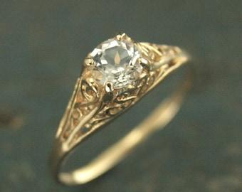 Vintage Style Ring~Filigree Engagement Ring~Cinderella~Gold Engagement Ring~Antique Style Ring~Hand Cast Ring~Moissanite Ring~Filigree Ring