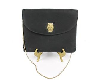 Vintage 60s Envelope Purse Owl Closure Evening Bag Handbag Black Satin Cloth 1960s Brass Chain Shoulder Strap