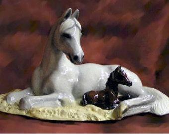 Arabian mare and Foal Figurine