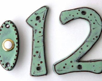 Address Outdoor House Numbers - Set of 2 - 4 inch, 5 inch or 6 inch Size - Pottery Letters or Numbers - Aqua Mist - MADE TO ORDER