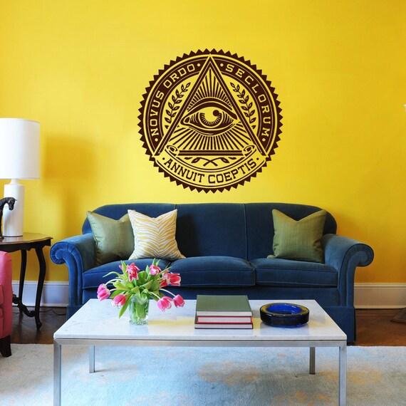 All Seeing Eye Wall Decal Illuminati Eye Annuit Coeptis Wall
