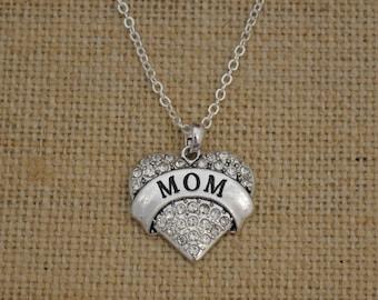 MOM Rhinestone Heart Necklace