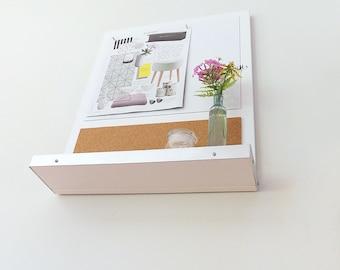 MODERN MESSAGE CENTER: Magnetic White Board Cork Board Bulletin Board with Shelf, Wall Mount Office Home Dorm Decor