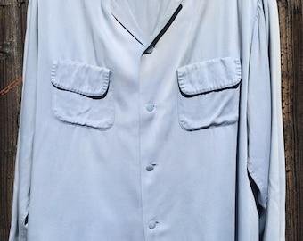 50s Pilgrim blue gaberdine shirt