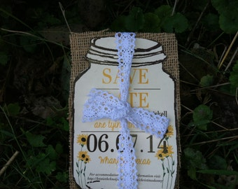 Sunflower Save the date, Burlap Save the date, cotton lace save the date -150 save the dates