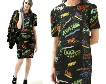 Vintage Sequin Dress Black Size small Medium By Modi Pop Art// 90s Vintage Beaded Dress with 90s Words Awesome Fun Crazy