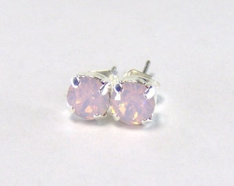 Rosewater Opal rhinestone surgical steel stud earrings / Swarovski / 6mm / birthday gift / pink opal / gift for her / pink earrings