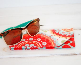 Fruity Pop Red and Blue Sunglass Case Glass Sleeve Monogrammed Cases for Oversized glasses Funky Sunglass case Polka Dots Sunglass sleeves