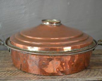 Large Antique Copper Pot & Lid (3)