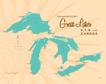 Great Lakes Map - Canvas Print