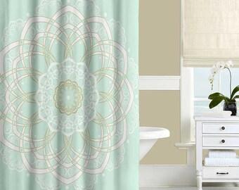 Mandala Shower Curtain, Mint Green and Gold, Bohemian Shower Curtain, Bath Curtain, Modern Bathroom Curtains, Mint Green Decor 71x74