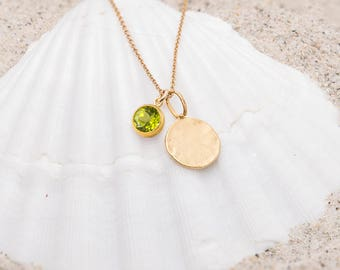 Peridot Birthstone Necklace/Hammered disc necklace with PEridot Charm/Hammered Disc Necklace/Peridot Charm Necklace/August Birthstone