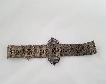 Antique Art Nouveau plated metal belt, filigree style vintage belt, large buckle belt, floral belt, Edwardian belt