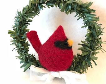 Needle felted cardinal ornament, felted cardinal, wreath, Christmas gift