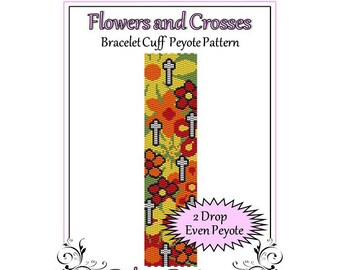 Bead Pattern Peyote(Bracelet Cuff)-Flowers and Crosses