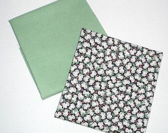 Frog fabric, FQ, Vintage, green, black, small print, frogs, cotton, solid, quilt fabric