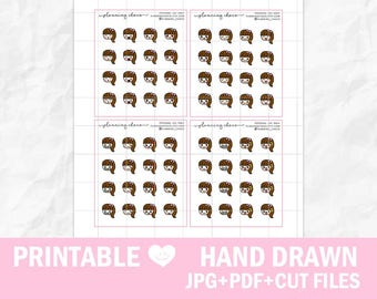 Hand drawn chibi girls 1/ECLP/EC vertical/basic functional printable planner stickers/pdf, jpg, silhouette cut files/cute kawaii character
