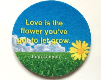 Absorbent Inspirational Coaster Set - Free Shipping - Yellow Flower - Love drink coasters - Buy One = Give Clean Water