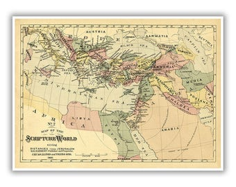 Ancient world map etsy biblical map of the scripture world 1800s holy land middle east jerusalem egypt ancient world art vintage style print multiple sizes gumiabroncs Gallery