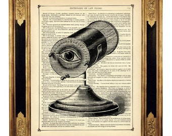 Optical Instrument Eye Dictionary Art Medical Poster - Vintage Victorian Book Page Art Print Steampunk