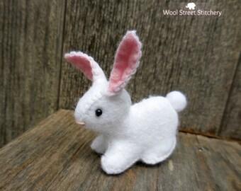 Stuffed bunny rabbit, handmade rabbit, felt Easter bunny decoration, felt stuffed animal