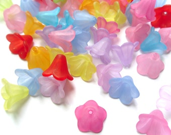 20 Mixed Color Frosted Flower Beads 10x14mm     -C1B3-1
