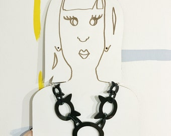 Chunky cat chain - cat lovers - Acrylic cat - statement necklace - pink cat - black cat - crazy cat lady - i like cats