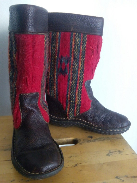 with Black inserts decorated woolen boots real with red boots vintage ugg style leather qSdgST