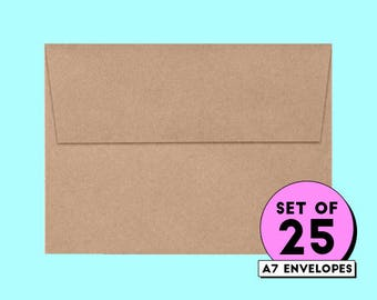 kraft envelopes, envelopes, invitation envelope, card envelope, envelopes, 5x7 envelopes, square flap envelope, bulk envelopes || Pack of 25