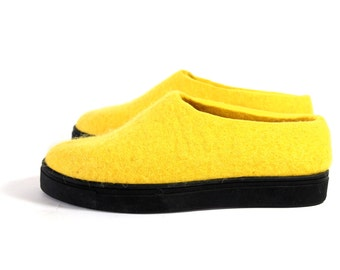 Platform Boots Felt Boots Yellow Pantone, Boiled Wool Slippers For Women Clogs, Slip On Shoes Gum Rubber Soles Felted Shoes All Day Comfort