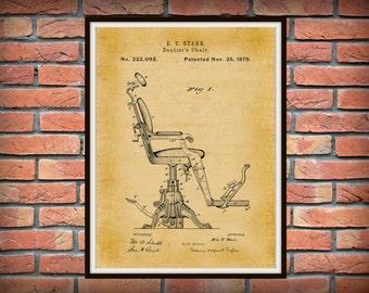 Patent 1879 Dentist Chair Art Print - Poster - Medical - Dentist Doctors Office - Nurse - Hospital Wall Art - Orthodontic Dentist Wall Art