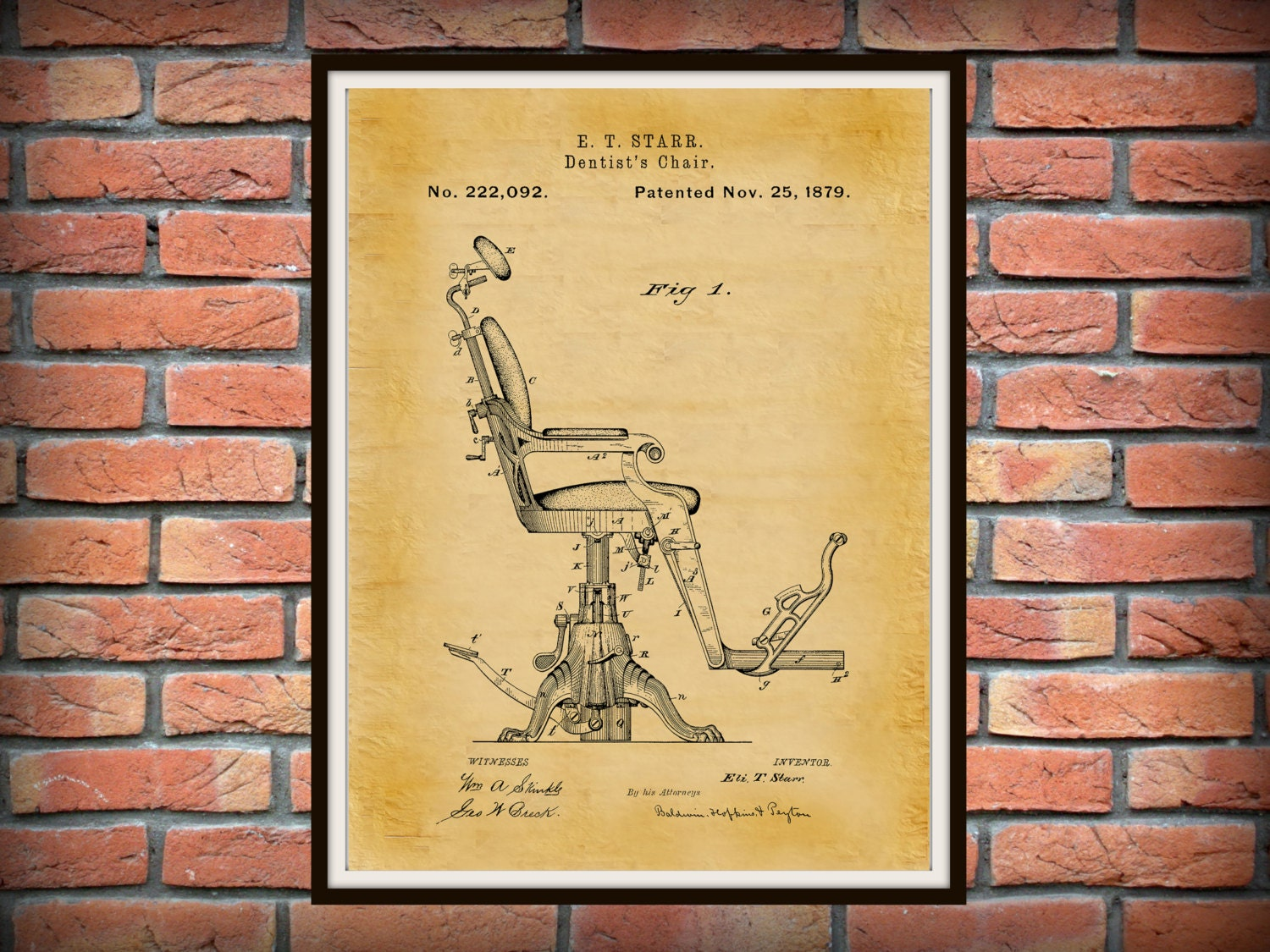 Patent 1879 Dentist Chair Art Print - Poster - Medical - Dentist ...