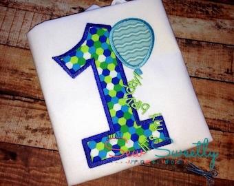 1st Birthday Boy - Embroidery Machine Pattern - First Birthday Balloon
