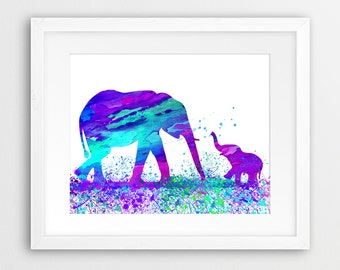 Elephant Watercolor Print, Elephants Wall Art, Elephant Family, Baby Elephant, Safari Animal, Cyan Violet Purple, Nursery Decor, Printable