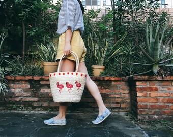 Free Shipping,Beach Bag,Straw Beach Bag,Beach Tote,Shoulder Bag, Flamingo Bag,Vacation Bag,Straw Braided Flamingo Bag