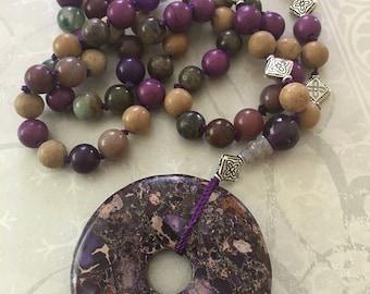 Boho Gemstone Donut Bead Necklace, Hippy Beads, Mindfulness, Boho Necklace, Free Spirit Boho Necklace,  Gemstone Boho Beads