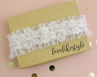 Ivory Pearl Beaded Lace Tulle Garter, Soft Ivory Tulle Garter, Off White Wedding Garter, Bridal Garter