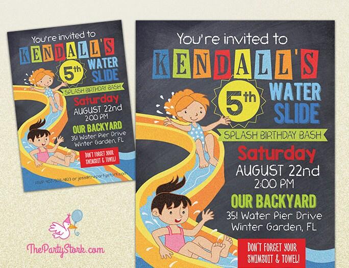 Water slide party invitation printable birthday invite for zoom stopboris Choice Image