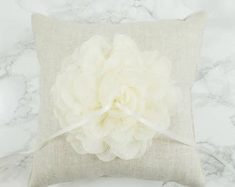 Wedding Ring Pillow / Ring Bearer Pillow / Linen Ring Pillow with Ivory Chiffon Flower / Rustic Ring Pillow / Linen Ring Bearer Pillow