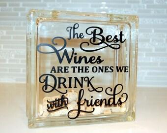 Wine Cork Holder, Wine Cork, Wine Cork Glass Block
