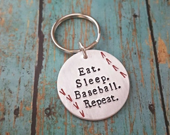 Baseball Keychain - Baseball - Eat Sleep Baseball Repeat - Baseball Lover - Gift for Him - Baseball Life - Baseball Mom - Baseball Dad