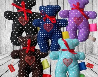 Sensory Teddy Bear, Minky Bear, Baby Bear, Mascot Teddy Bear, Newborn Baby Bear, Boy Sensory, Girl sensor,Baby Gift, Free Owl, Sensory Owl