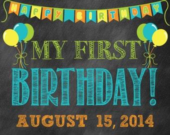 Chalkboard First Birthday Photo Prop // First Birthday Sign // First Birthday Poster // Baby's First Year // 1st Birthday Poster // Boy