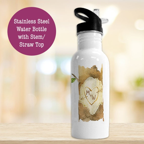 Stainless Steel Water Bottle - Initials Carved In Tree - Eco Friendly Water Bottle